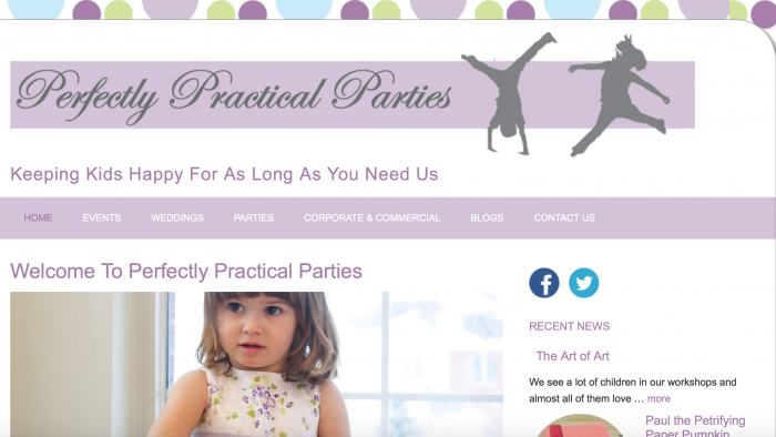 Perfectly Practical Parties ~ Mobile-Friendly Website