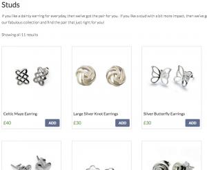seresgifts.com Earrings Screenshot